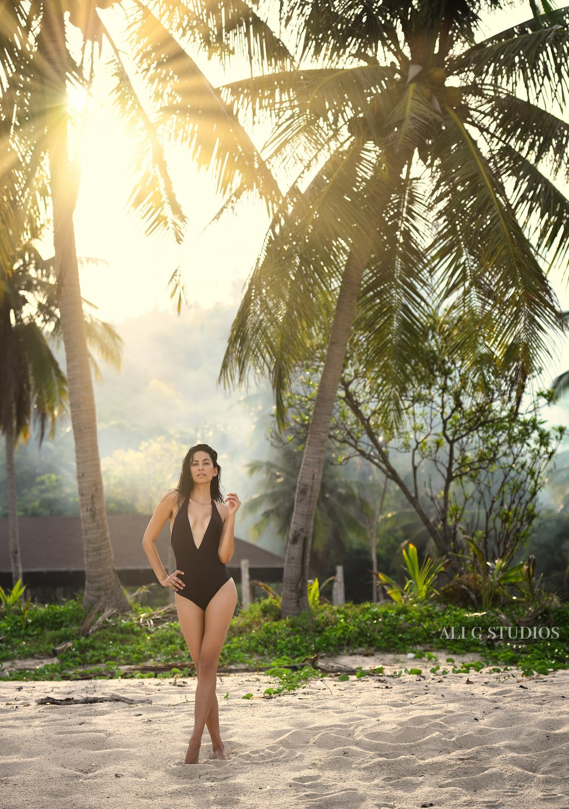 Swim suit editorial shot on the beach in Koh Samui, Thailand