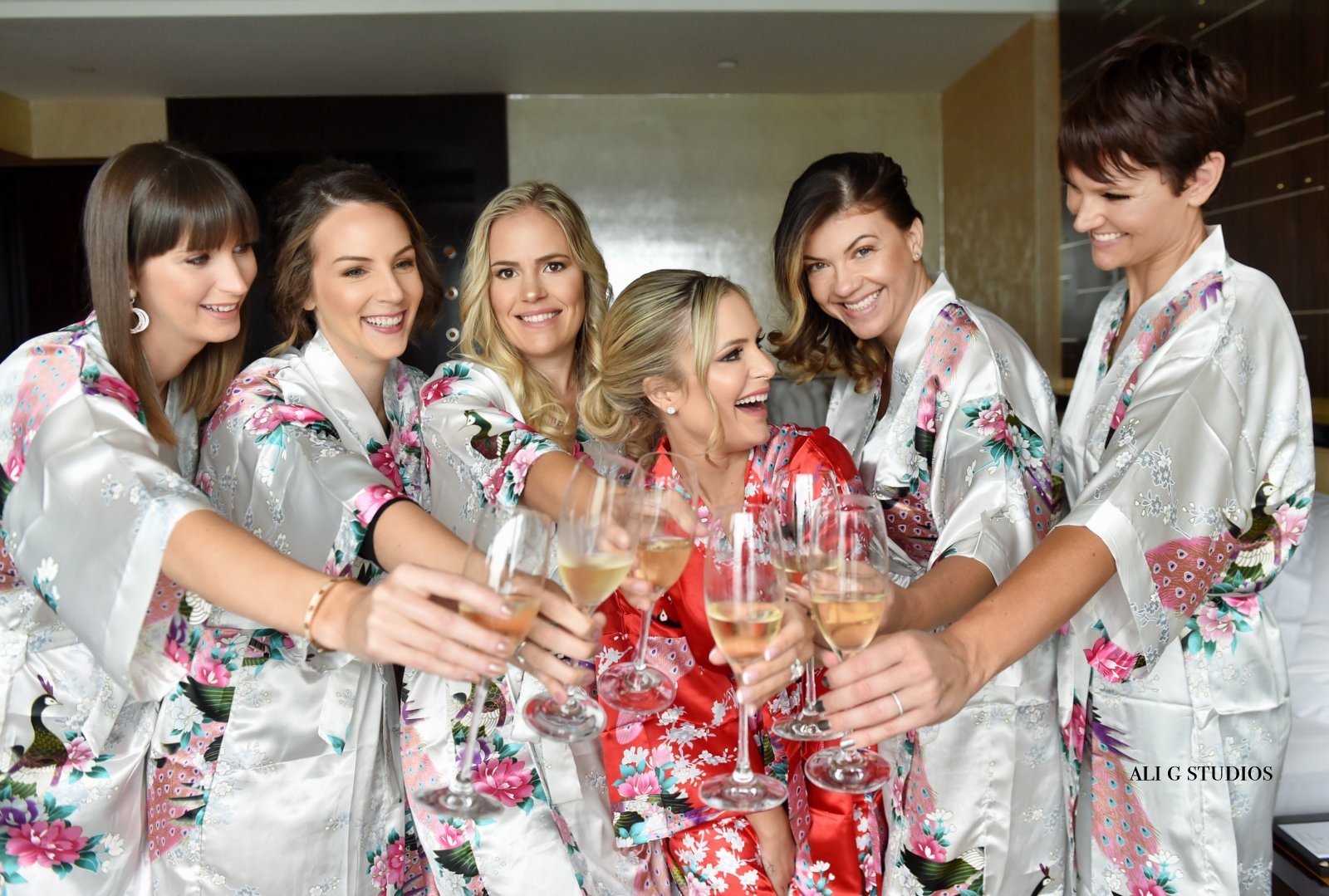 hong kong four seasons wedding bride and bridesmaids